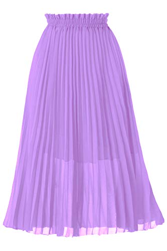 GOOBGS Women's Pleated A-Line High Waist Swing Flare Midi Skirt Lavender Small/Medium