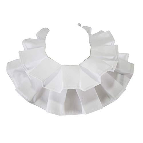 DealMux - Collar falso con volante de algodón renacentista vintage para mujer, volante blanco victoriano