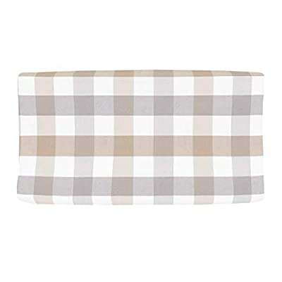 NoJo Kimberly Grant Woven Buffalo Check Grey & Taupe Changing Pad Cover, Grey, Taupe, Single