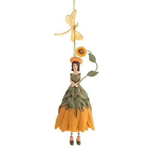 ROSEMARIE SCHULZ Heidelberg Blumen Mädchen Sonnenblume mit Libelle zum Hängen Flower Fairy Figur Dekofigur Blumenfigur Skulptur Blumenkinder