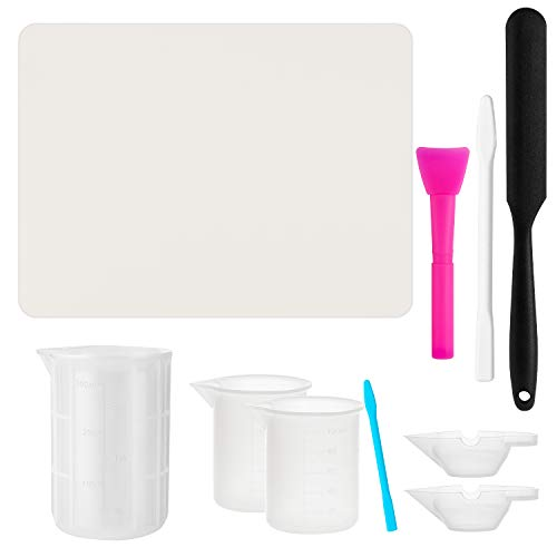 Gartful Reusable Resin Tool Kit, 10PCS Mixing Cups Tool Sets for Resin Epoxy Casting, Extra Large Silicone Mat, 300ml & 100ml Measuring Cups, Mixing Cups, Spatula Stick, Silicone Brush, Hand Stir Sticks