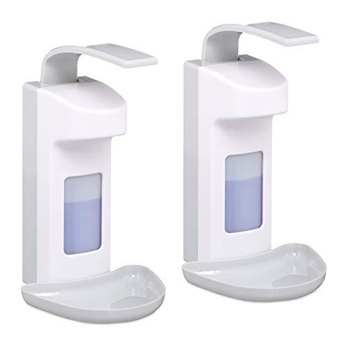 Relaxdays 2 x Desinfektionsspender, mit Tropfschale, Hygiene Wandspender Händedesinfektion, Armhebelspender für 500 ml, weiß