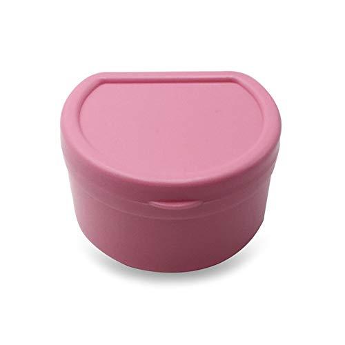wyxhkj Zahnkiste mit Net,Tragbar Klein Zahnprothesenbecher,Zähne Sauber Zahnpflege Box (Pink)