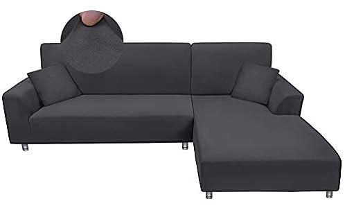 Taiyang Funda para sofá en Forma de L, 1 Pieza Funda para Sofá 3 Plazas (Fundas para Sofa Chaise Longue Necesita Dos), Tela Elástica y Cómoda con 1 Fundas de Almohada (3 Asientos, Gris)