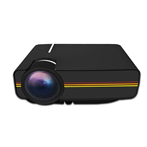DuLing Proyector casero, Mini proyector LED, 1200LM 800x480 Soporte HDMI y AV y SD y USB y VGA, for Cine en casa (Color : Negro)