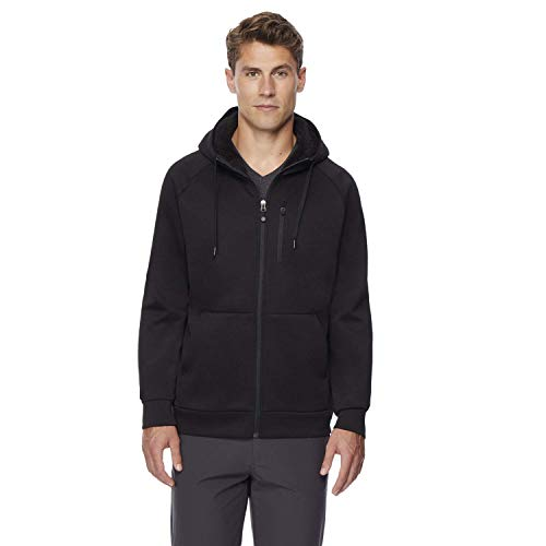 32 DEGREES Mens Fleece Tech Sherpa Lined Hoodie, Black, Large