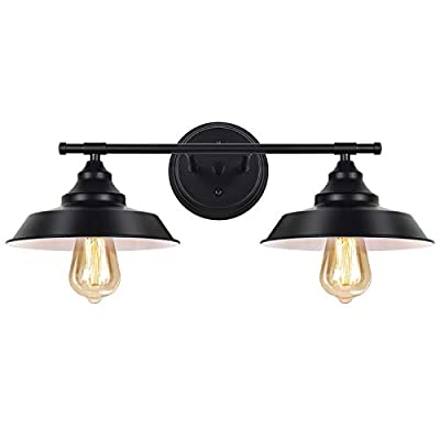 Bathroom Vanity Light Fixtures, 2 Light Wall Sconce Black Industrial Wall Light Fixture for Vanity Mirror Kitchen Living Room Farmhouse Cafe Dressing Table