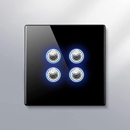 PJDOOJAE Panel de vidrio templado Creative Palanca de la Palanca Interruptor 86 Tipo Interruptor de palanca AC 10A / 220V 1-4 GANG GAND 2 Vías Interruptor de palanca Lámpara LED PERSONALIDAD CREATIVA