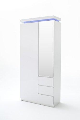 Robas Lund Ocean Armoire vestiaire Porte Miroir/3 Tiroirs, MDF laqué Brillant, Blanc, 38 x 91 x 198 cm