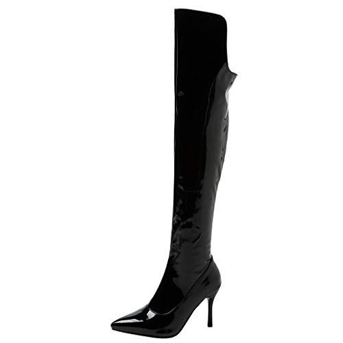 COCOLULU Damen Lack Overknees Stiefel Stiletto Spitz Thing High Boots High Heels Langschaft(EU Size 36, Schwarz)