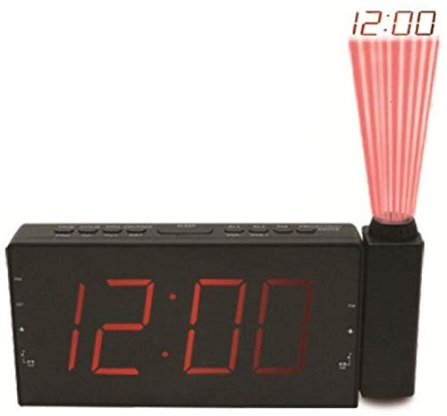 Clock Leuke wekker, multifunctionele projectie, klok met snooze-functie, FM-radiowekker, sleeptimer, leuke LED-slaapkamer en werkkamer, prachtige digitale projectieklok
