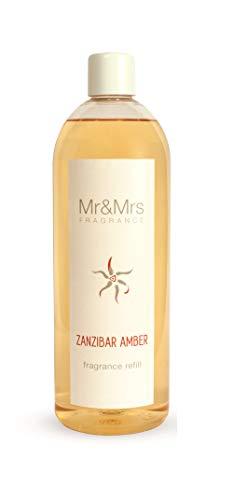 Mr & Mrs Fragrance Refill Diffuseur de Parfum de Parfum de Parfum d'ambiance Blanc 200 ml Ambre de Zanzibar