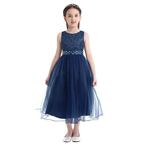 Aislor Vestito da Cerimonia Principessa Bambina Vestiti Comunione Senza Maniche con Cintura Rimovibile Abito Elegante da Damigella Ragazze Tutu Abito da Festa Compleanno Blu Scuro 14 Anni
