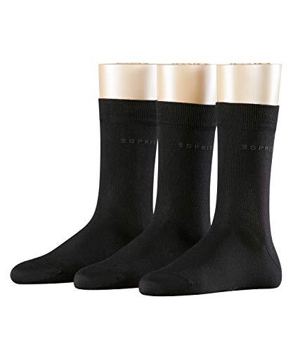 ESPRIT Damen Socken Uni - 80% Baumwolle , 3 Paar, Schwarz (Black 3000), Größe: 36-41