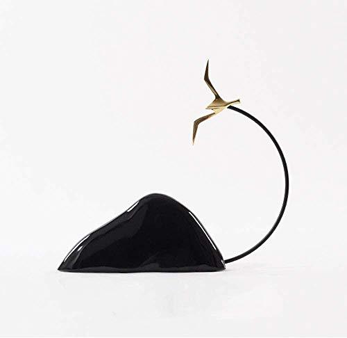 kglkb Escultura Decorativa Salon,Estatuas Creativas Decoración De Rocalla De Cerámica Negra Hotel Sala De Estar Ventas Oficina Porche Gran Ganso Decoración Zen Decoración Suave