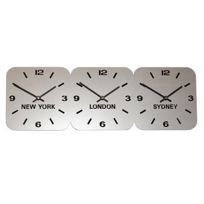 Large Horloge Acrylique Fuseaux Horaires Argent (H24.5cm x L73.5cm Triple Horizontale)