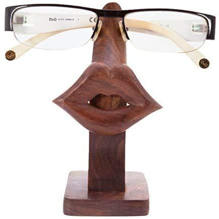Whopper Soporte para gafas de sol de madera, talladas a mano, decoración de escritorio, oficina, hogar, accesorios de 5 pulgadas