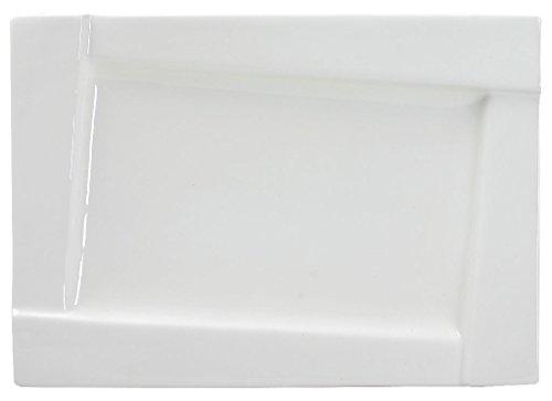 Dajar AMBITION talerz obiadowy sześcienny 25 cm szkło hartowane talerz talerz talerz talerz talerz talerz płaski zestaw prezent nowoczesny elegancki biały