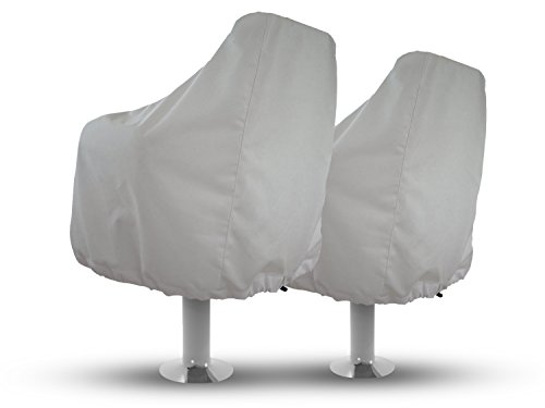 Review Boat Seat Covers (Set of 2) Color White, Weather Resistant Marine Canvas, Fits Over the Chair...