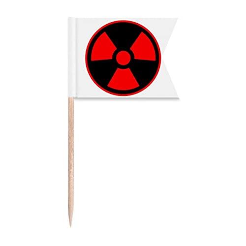 Rote gefährliche Schekal giftige Strahlung Symbol Zahnstocher Flaggen Kennzeichnung für Party Kuchen Lebensmittel Käseplatte