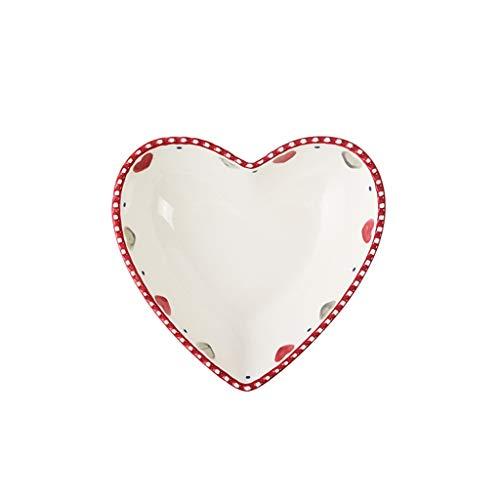 vajilla Robusto Ensalada de cerámica del corazón del hogar Tazón Tazón Frutero Creativo Postre Cuchara Desayuno Tazón Hermosa (Size : 15cm)