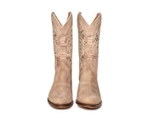 Sendra Boots Bota con decoración de Serpiente 8850 Debora Sprinter Color Hueso Talla 39