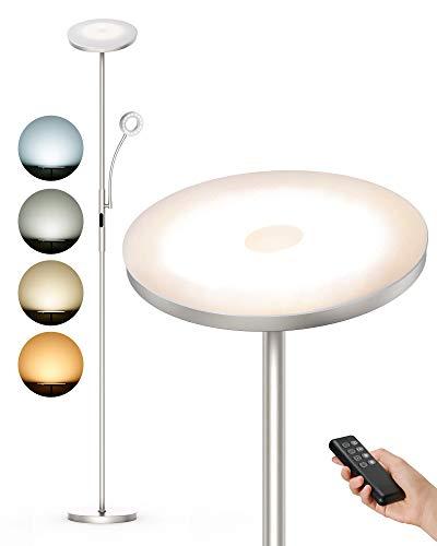 Anten Stehlampe LED Dimmbar | Modern Deckenfluter 30W mit 5W Leselampe | 2000LM Stehleuchte mit 4 Farbtemperaturen für Wohnzimmer, Schlafzimmer, Büro, Hotel- Nickel