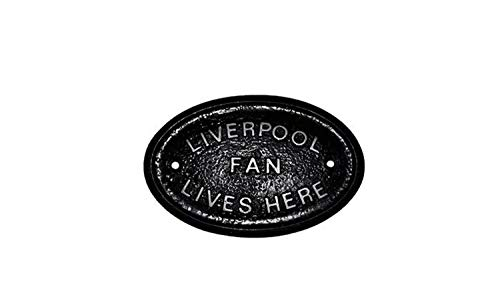 Silver'Liverpool Fan Lives Here' Wall or Fence Garden Plaque/Sign with Silver Raised Lettering