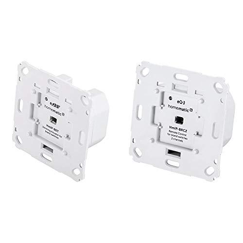 Homematic IP Smart Home Dimmaktor für Markenschalter – Phasenabschnittsdimmer für dimmbare Leuchtmittel sowie auch für die meisten dimmbaren(!) LED-Lampen & Wandtaster für Markenschalter – 2-fach
