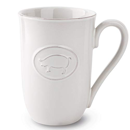 FE Coffee Mug  18OZ Large Coffee Mugs with Chic Animal Pattern  Vintage & Farmhouse Theme Tea Mugs for Office & Home (White-Pig)