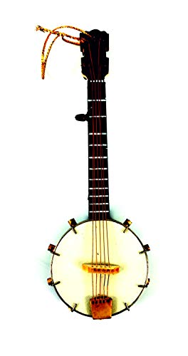 LS Miniature Banjo Holiday Ornament,Mini Musical Instrument Dollhouse Model Home Decoration (5.1 inch/13CM)