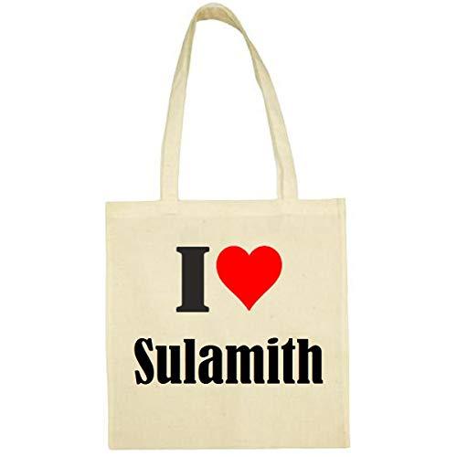 Tasche I Love Sulamith Größe 38x42 Farbe Natur Druck Schwarz