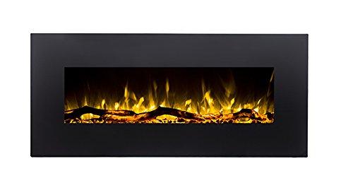 GLOW FIRE Elektrokamin mit Heizung, Wandkamin mit LED | zuschaltbarer Heizlüfter mit 750 oder 1500 W | Fernbedienung (Größe M - 110 cm, Schwarz)