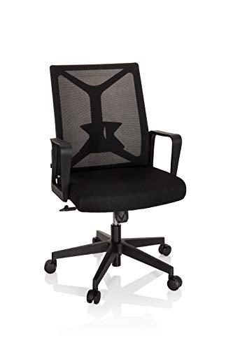 hjh OFFICE 810030 Bürostuhl klappbar ENCO Stoff/Netz Schwarz klappbare Rückenlehne, Drehstuhl mit Lordosenstütze