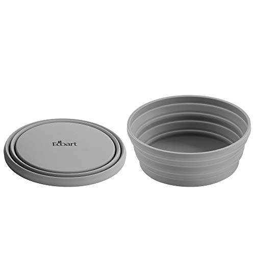 Ecoart Silicone Collapsible Expandable Bowl Foldable Portable for Camping Hiking Picnic Travel (Gray(SL))