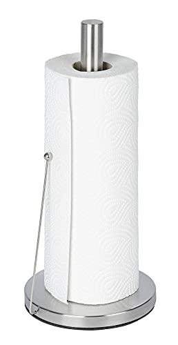 Wenko Clayton Portarrollos de Papel de Cocina, Acero Inoxidable, Plata Mate, 15x15x33 cm