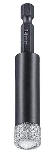 kwb Diamant Fliesen-Loch-Bohrer für Bohrmaschinen, Lochsäge mit E 6.3-Aufnahme, Diamont-Bohrkrone Durchmesser 14 mm