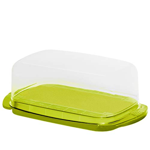 Rotho 1709705070, Kunststoff, transparent/limettengrün, 18 x 9.5 x 7 cm Butterdose