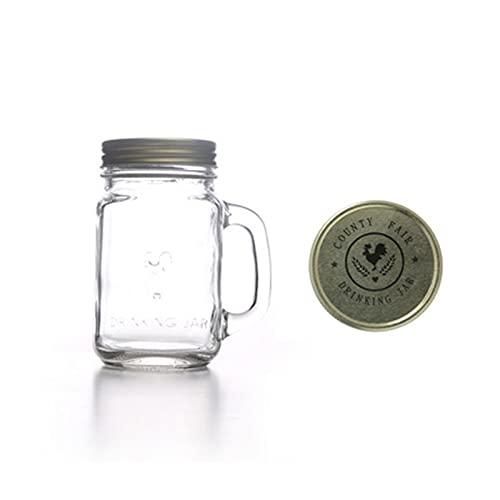 JSJJAEY Taza Mango de cinturón portátil Copa de Vidrio Desayuno Jugo Ensalada Ensalada Transparente Copa de Vino Retro Tabho enlatado Limón Taza de Botella de Agua 1pc (Capacity : 500ML, Color : A)
