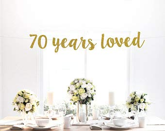 Tamengi 70 Years Loved Banner, Gold Glitter, Seventy, 70th Birthday, 70 Years Blessed, Party Decor, Photo Backdrop, Sign, Art Decor