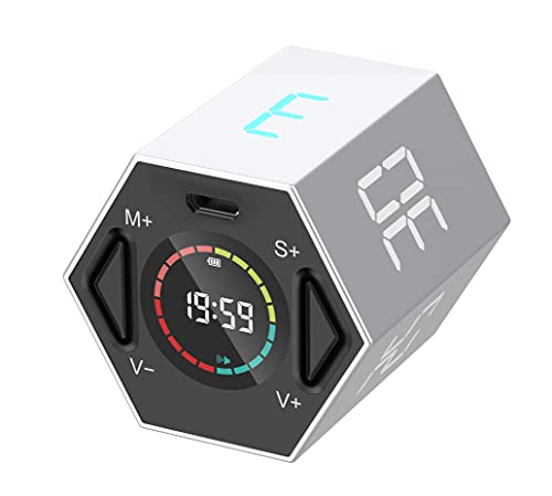 TickTime ディジタルタイマー 操作簡単 58g軽量 コンパクト 消音切替 音量切替機能 充電式 在宅ワークの時間管理 勉強・料理・運動・会議 最大99分59秒までカウント 正六角柱 シルバー