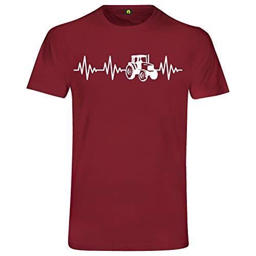 Herzschlag Traktor T-Shirt | Trecker | Landwirt | Schlepper Mähdrescher | Bauer Bordeaux Rot XL