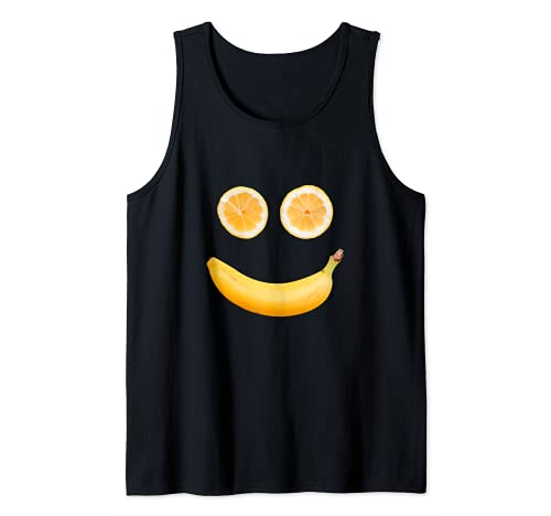 Be Happy Carte graphique humoristique avec inscription « Happy Banana » et « Orange Smile » Débardeur