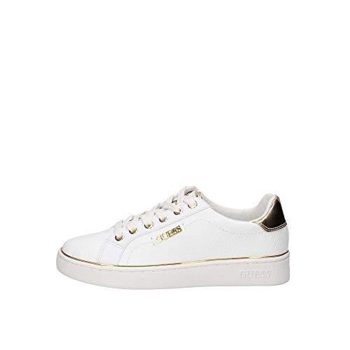 Guess Scarpe Sneakers Casual Donna Pelle logata Bianca con Inserti Dorati. Fondo in Gomma Antiscivolo. n. 35