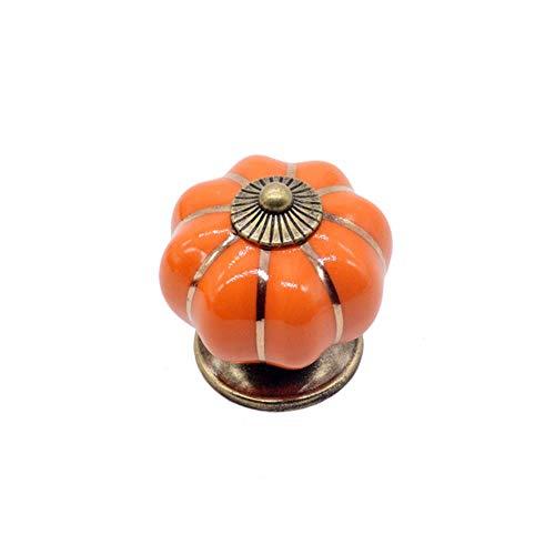 6 kleuren 40mm vintage meubelen handvat deurknoppen pompoen keramische kast grepen meubels ladekast keuken pull handvat, oranje
