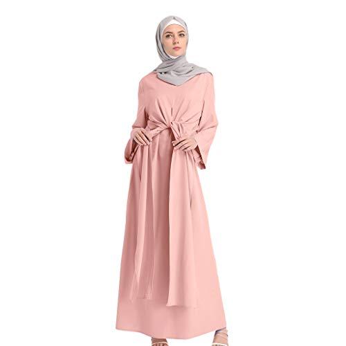 Makefortune 2019 Damen Muslimische Kleider, Frauen Chiffon Langarm Kleid Elegant Stickerei...