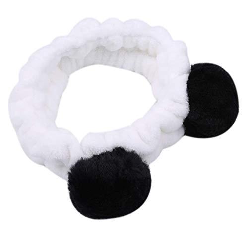 Hairband Pompom Shower Wash Visage Titulaire De Cheveux Femmes Fille Douche Maquillage Wash Face Mignon Bandeau Cheveux Ornements, Noir Utile et Pratique