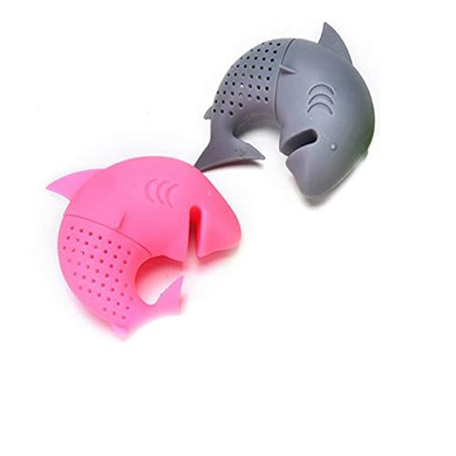 Infusore a Forma di squalo in Silicone per Uso Alimentare, con Filtro per Foglie di tè, Erbe e spezie, Riutilizzabile, Colore Rosa