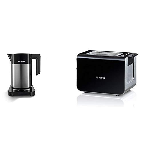 Bosch TWK7203 kabelloser Wasserkocher, Abschaltautomatik, 7 Temperatureinstellungen, 1,7 L, 2200 W, schwarz & TAT8613 Styline Kompakt-Toaster, Auftau/Aufwärmfunktion, 860 W, schwarz