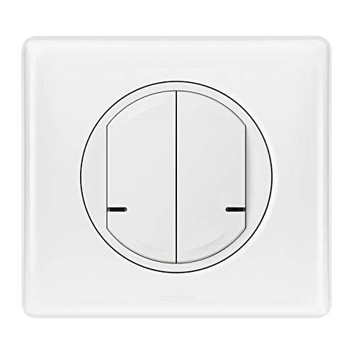Legrand 67722 - Interruptor doble de cableado, 2 circuitos 250 W, para instalación conectada Céliane con Netatmo con placa lacada blanca, 67722, color blanco